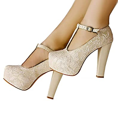 getmorebeauty Women s Marty Janes T-Strappy Lace Women Dress Wedding Shoes  5 B(M 29ec76ac88a7