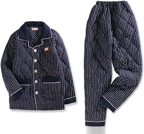 ZZHF Pijamas, Enrejado Espesar Algodón Pijama Simple Conjunto Hombre Invierno Manga Larga Algodón Ropa para el hogar Pijamas Sueltos cómodos de Gran tamaño, 4 Colores Opcionales camisón: Amazon.es: Hogar