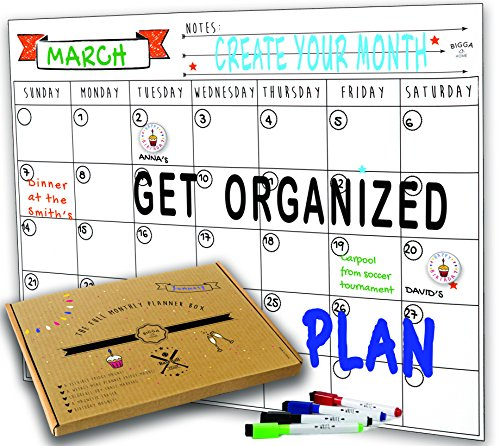 Dry Erase Monthly Magnetic Calendar Planner Set, White Board W/extra Meal Planner, For Kitchen Refrigerator, Flexible, a Highly Designed Stiff Box for Home or Office. White, 16''x12''. By BIGGAHOME