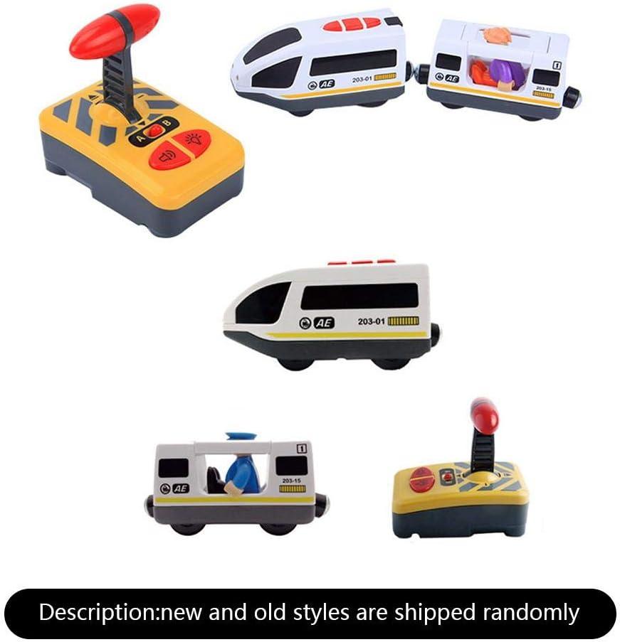 S-tubit Juguete Tren Control Remoto, Juguete Tren magnético para niños - Compatible con Thomas IKEA BRIO Pista de Madera para Regalo de cumpleaños para niños - Muñecas al Azar Eco Friendly