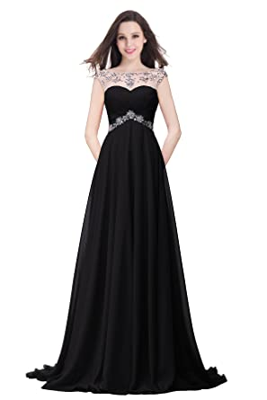 Misshow Long Beaded Chiffon Bridesmaid Dresses Ladies Wedding Party, Black, Size 6