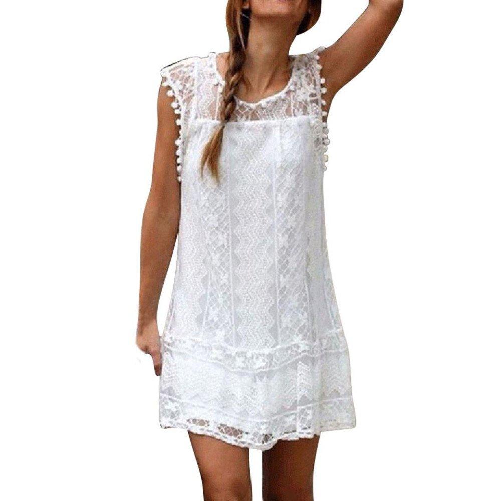 Kirbaez Womens Summer Casual Fashion Sleeveless Lace Mini Tank Dress Tassel Beach Sundress Evening Party Cocktail White