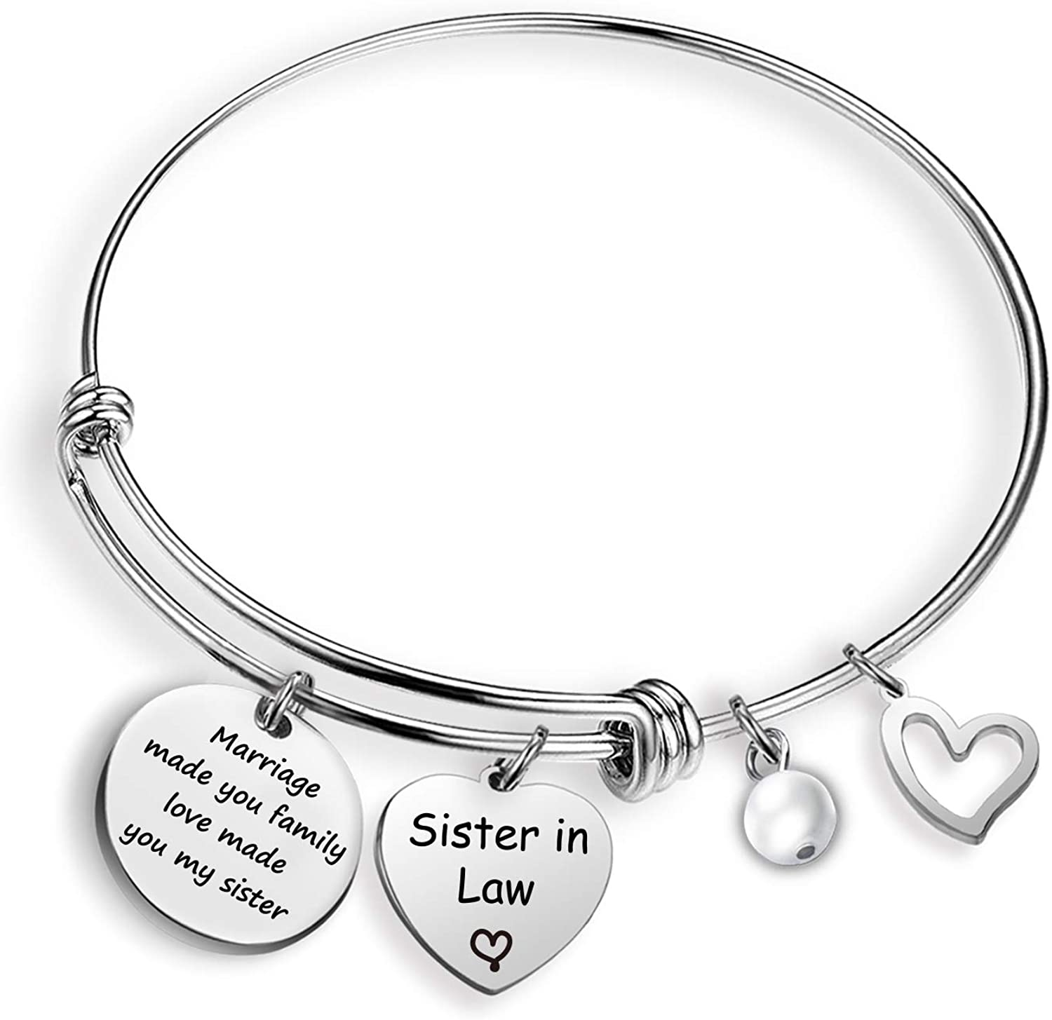 EIGSO Sister in Law Bracelet Marriage Made Us Family Love Made You My Sister Wedding Gift for Sister(Sister in Law BR)