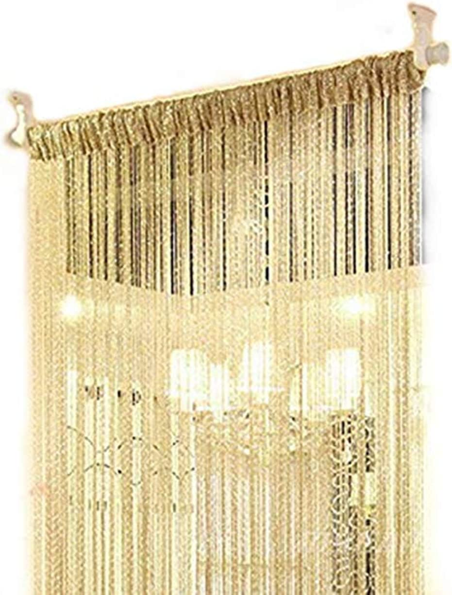 HY Decorative Door String Curtain Wall Panel Fringe Window Room Divider Blind Divider Tassel Screen Home 100x200centimete (Yellow)