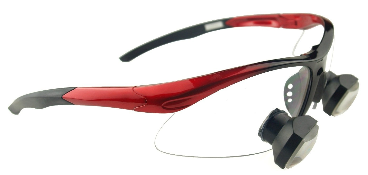 40,000 Lux Feather LED Headlight for Dental Medical Surgical Professionals (340mm Working Distance, Sports Frame Red)