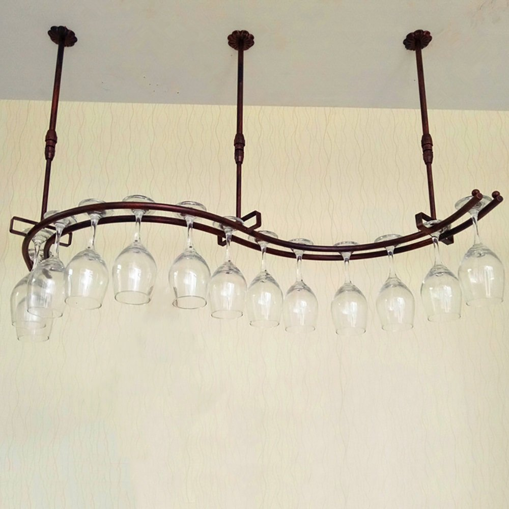 Bronze L100cmW28cm European-Style Iron S-Type Wine Glass Holder Hanging Furniture Supplies Bar (color   White, Size   L100cmW28cm)