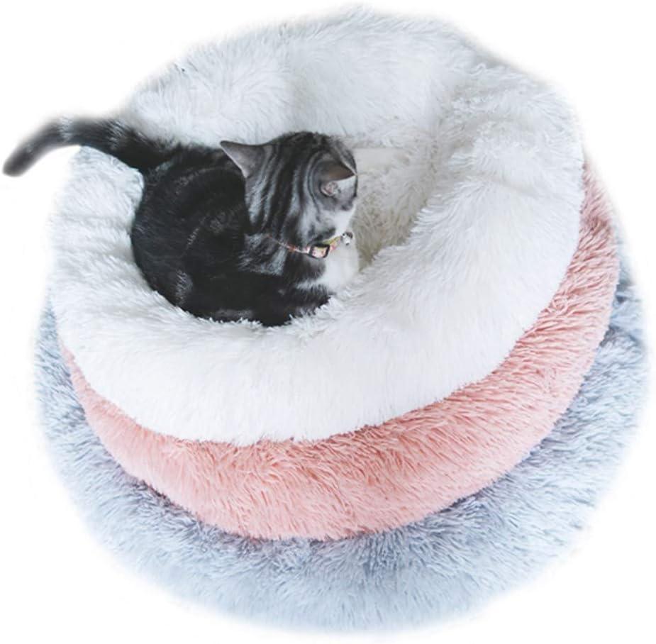 Decdeal Cama de Mascotas Donut Cama de Perros Gatos Redonda C/ómodo Suave Felpa Corto con una Bola de Sisal Cama de Gatitos Cachorros para Dormir Descansar Durmiente