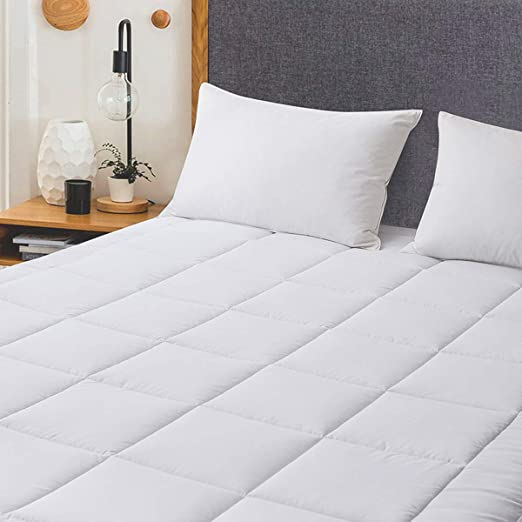 Cooling Soft Polyester Matress Pad Quilted Mattress Topper Breathable Microfiber