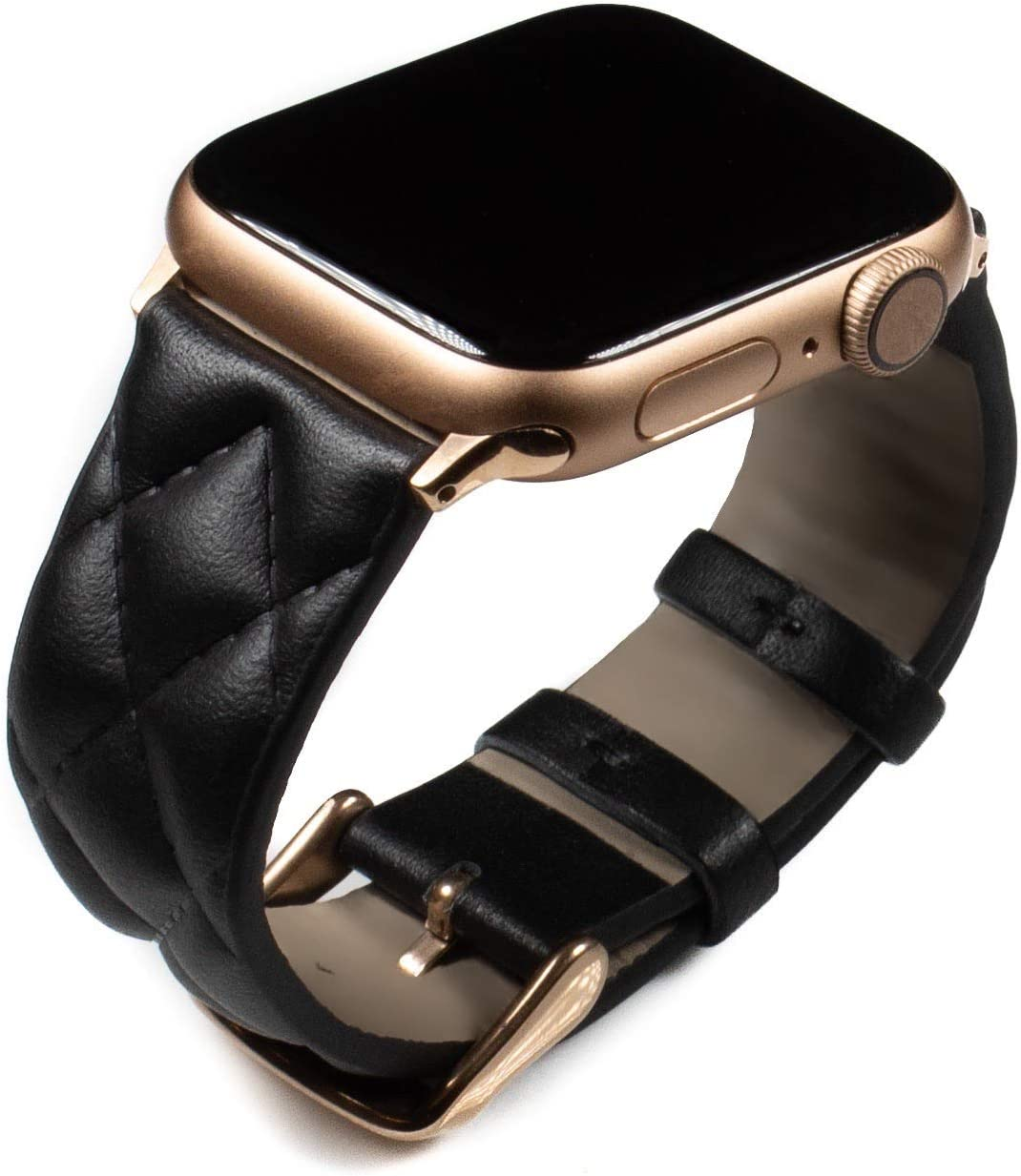 Grit & Grazia Top Grain Leather Apple Watch Band Compatible w/ 38mm 40mm 42mm 44mm Series 1/2/3/4/5 iWatch, Diamond Patten Apple Watch Replacement Strap (Black + Rose Gold Hardware, 42mm/44mm)