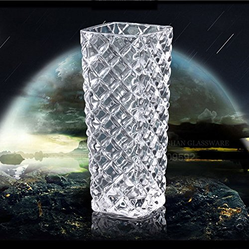 Red Rectangular Vases (6 '' Bud Vase Mini Rectangle Crystal Glass Vase with Rhombus Pattern Cylinder Vase.)