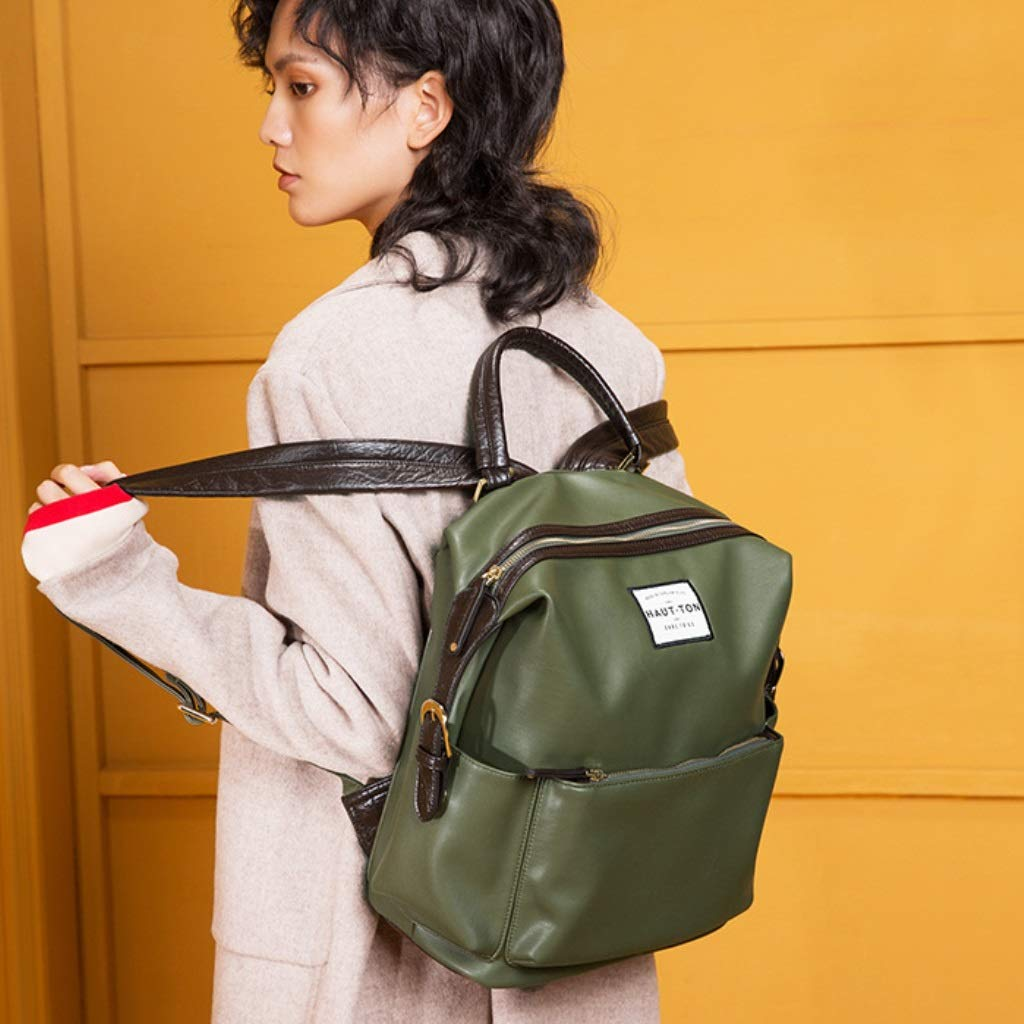 Color : Green ZYqi Small Fresh Backpack Fashion Simple PU Travel Bag Casual Backpack
