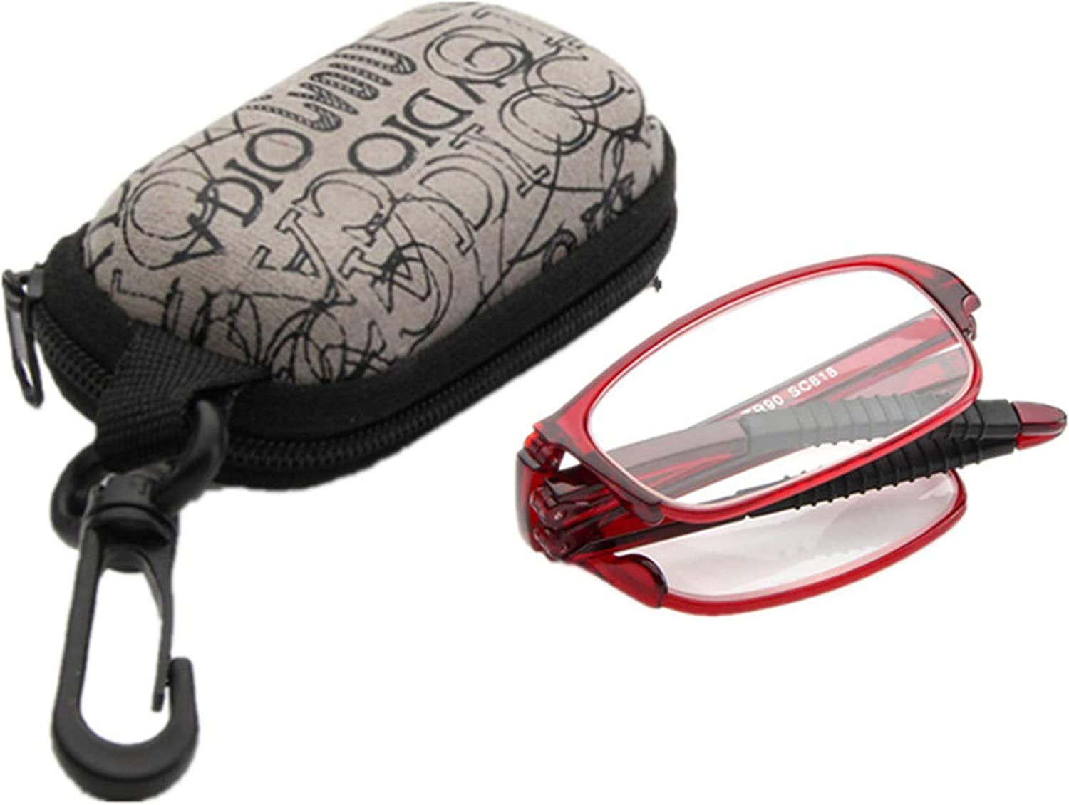 Folding Bendable Reading Glasses Mens Womens Travel Office Glasses Includes Case with Lens Strength Variations Up to 4.0x