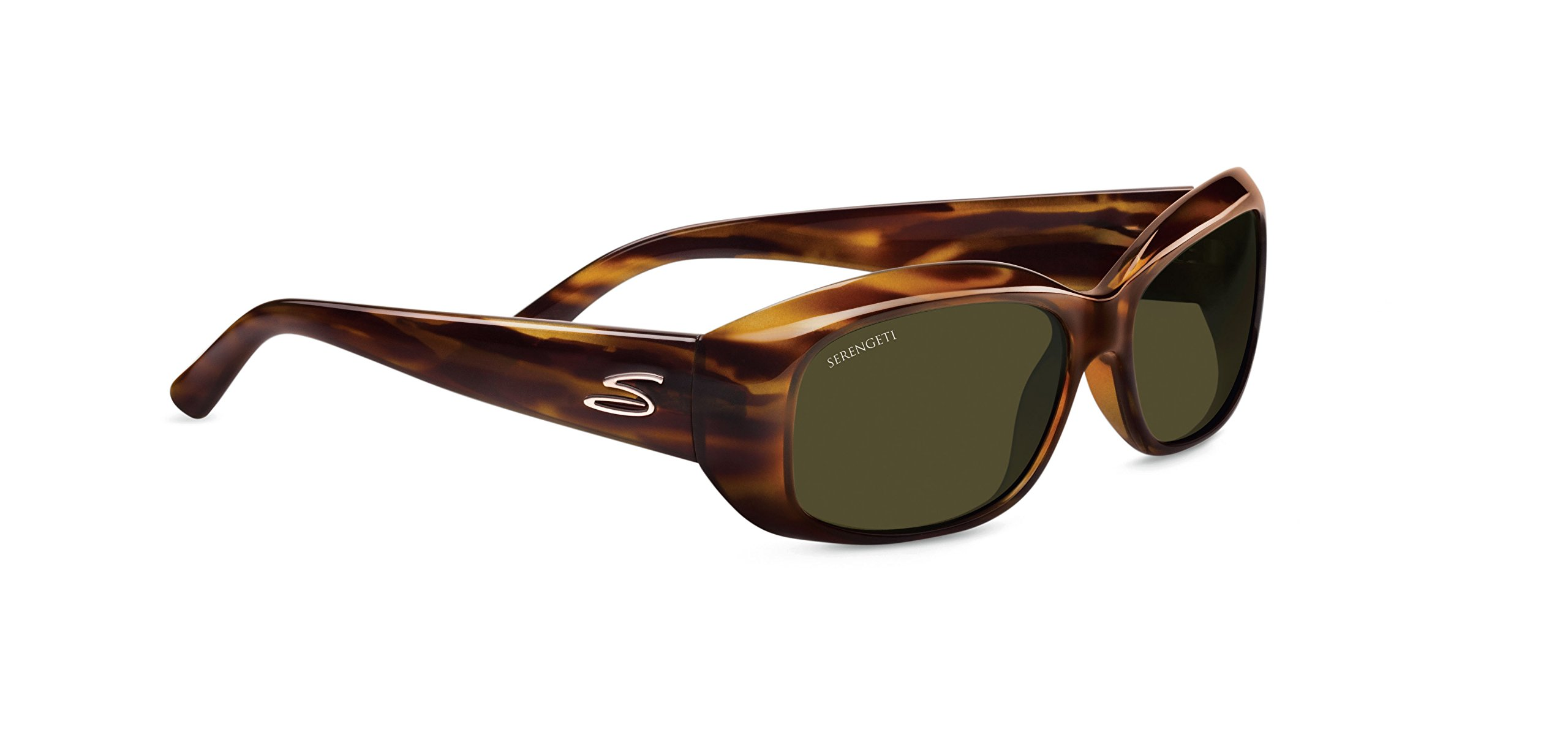 Serengeti RX Eyewear Bianca Sunglasses (Dark Stripe Tortoise, Polar 555 NM) by Serengeti