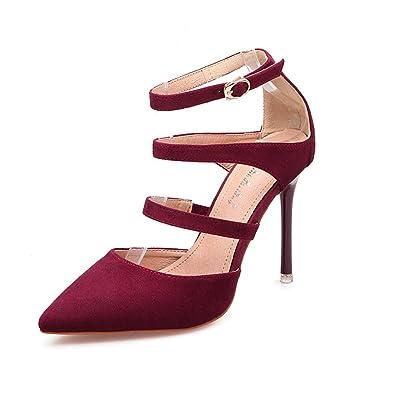 JITIAN Sandales pour Femmes Chaussures Talons Hauts Aiguilles Pointu Sangle  Bride Cheville Sandale Bordeaux 37 117a7b267fd4