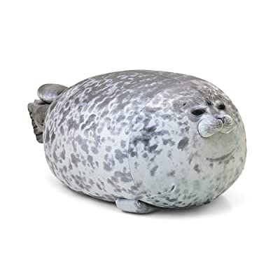 Rainlin Chubby Blob Seal Pillow Stuffed Cotton Plush Animal Toy Cute Ocean Pillow Pets Grey X-Large (31.5 inch Length): Home & Kitchen