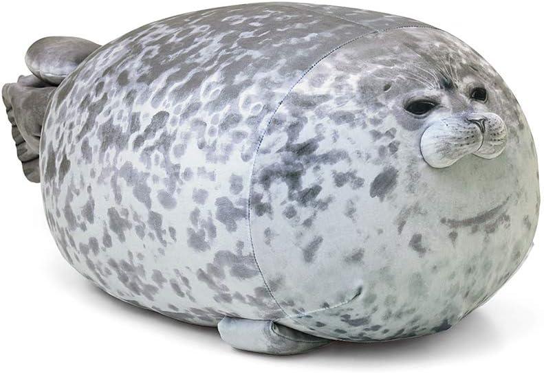 Rainlin Cute Blob Seal Pillow Round Chubby Seal Pillow Soft Hug Plush Pillow Stuffed Cotton Animal Plush Toy (Grey, Medium(17.3 x9.1 x7.5 inches)