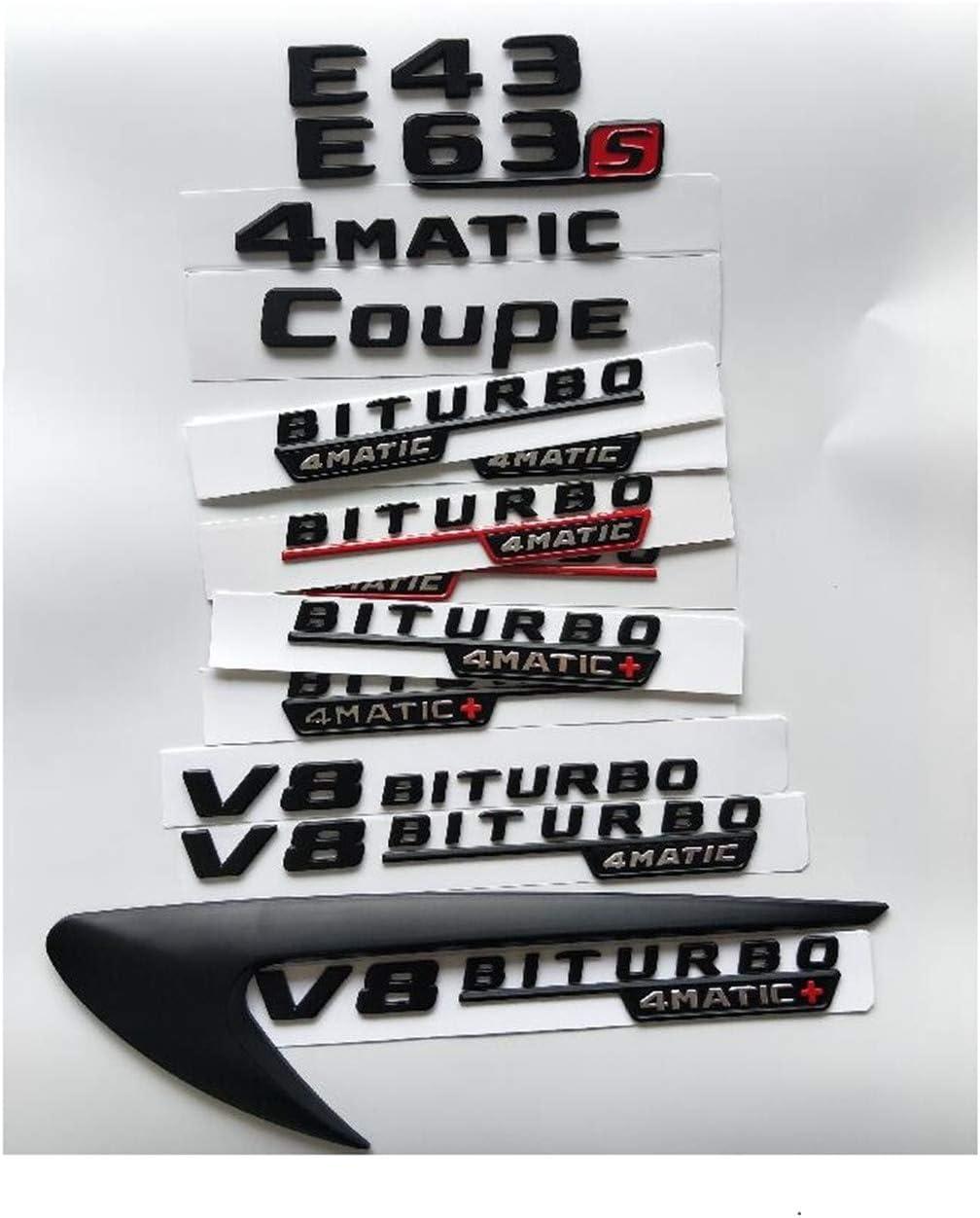 Black Letters E43 E53 E63 E63s V8 BITURBO 4 MATIC Wing Boot Badge AMG W207 W211 W212 W213