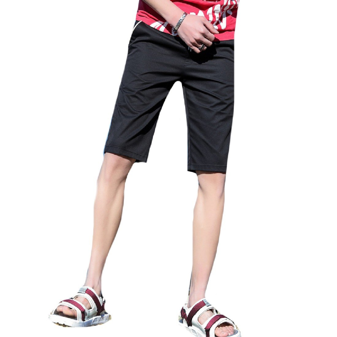 DressU Mens Beach Summer Lounge Solid Colored Plus Size Shorts Pants