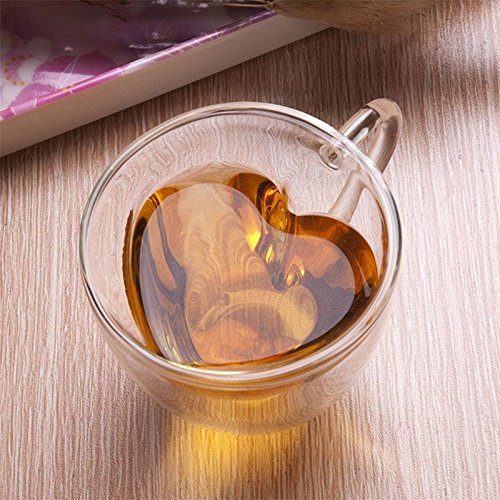 Kicode Double Wall Layer Glass Tea Cup Clear Transparent Heart Love Shaped 240ml Lover Coffee Mug Gift