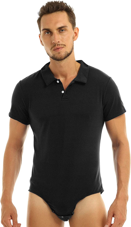 YONGHS Men's Short Sleeve Turn-Down Collar Button Crotch Shirt Bodysuit Snappies Romper Jumpsuit
