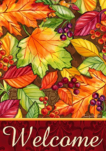 """"""" WELCOME LEAVES """" – Fall Themed – Double Sided – Garden Size 12 Inch X 18 Inch – Decorative Flag For Sale"""