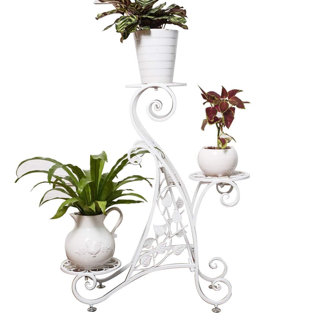 QING MEI 複数の屋内と屋外のヨーロッパの鉄の花のスタンド植物のスタンドバルコニーのリビングルームフラワーポットのディスプレイスタンドフロアタイプ A+ (色 : 白) B07JD478MC 白