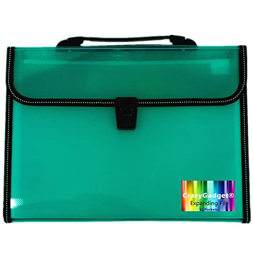 Black Pixel/® A4 Office Home School Expanding File 7 Pockets Document Organiser Folder Storage Case with Locking Lid