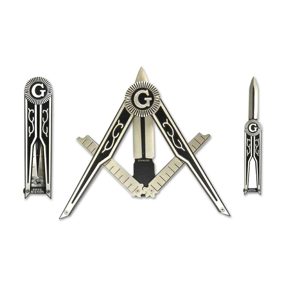 """Square & Compass with G Masonic Folding Knife - 3 1/4"""" Blade - 9"""" Overall"""