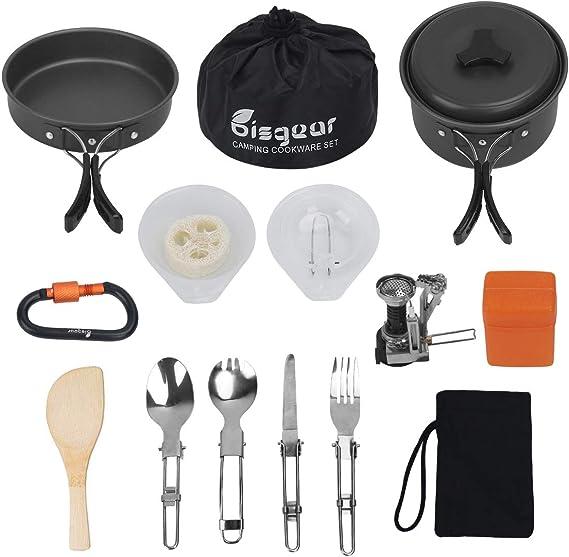 11pcs Camping Cookware Mess Kit with Pot Stove Carabiner Folding Spork Set B