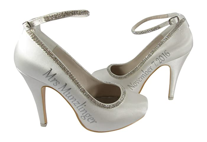 41e6186b0cafe4 Amazon.com  Handmade Ivory High Heel Bridal Shoes with Rhinestone Ankle  Strap  Handmade