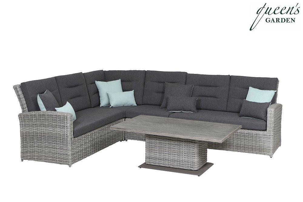 Queen´s Garden 359921 Comodo Lounge Set Aluminium hellgrau 100% Elastolifen grau; inkl. 4 Dekokissen 45x30 und 4 Dekokissen 45x45