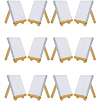 "MEEDEN Mini Canvas & Easel Set of 12 PCS, 4"" by 4"" Small Stretched Canvas with 3"" by 5"" Tiny Wood Easel for Painting Craft Drawing Decoration Gift"