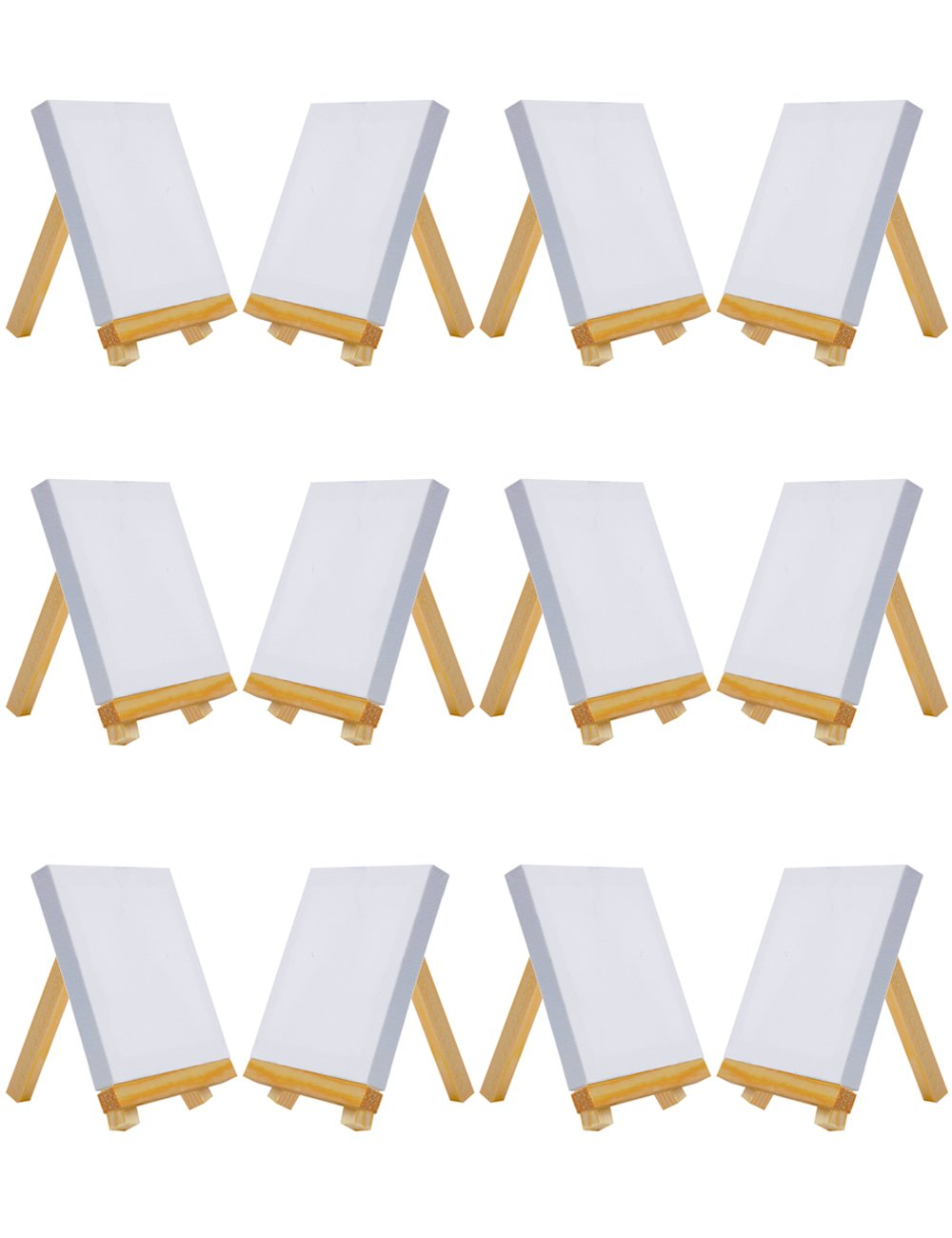 MEEDEN Mini Canvas & Easel Set of 12 PCS, 4 by 4 Small Stretched Canvas with 3 by 5 Tiny Wood Easel for Painting Craft Drawing Decoration Gift