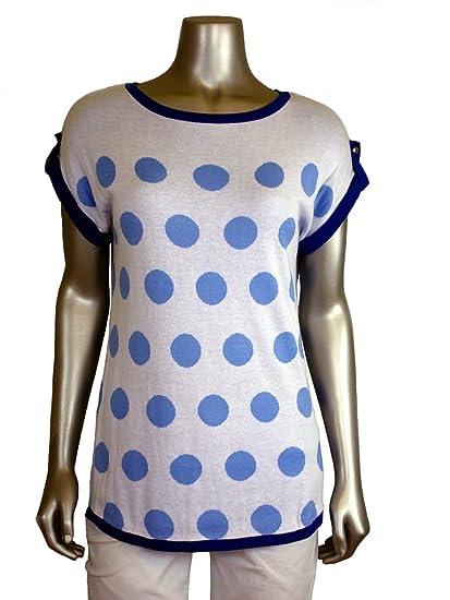 Joseph A Womens Hi Low Polka Dot Pullover Sweater Blue L At Amazon