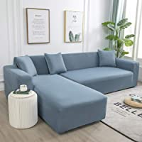 Thick Sofa Covers,for Living Room Elastic Spandex Couch Cover Stretch Sofa Towel L Shape-Azure_145-185Cm