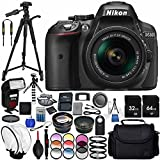 """Nikon D5300 with AF-P DX 18-55mm f/3.5-5.6G VR 23PC Accessory Bundle - Includes 72"""" Tripod + Automatic Flash with LED Light + 64GB & 32GB SD Memory Card + Medium Carrying Case + MORE"""
