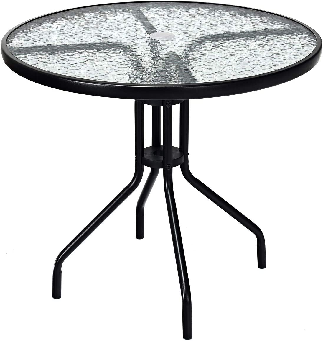 Goplus 32 Outdoor Patio Table Round Shape Steel Frame Tempered Glass Top with Umbrella Hole Commercial Party Event Furniture Conversation Coffee Table for Backyard Lawn Balcony Pool Black