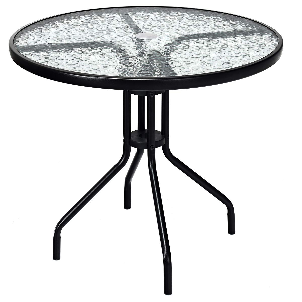 Tangkula 32 Outdoor Patio Table, Round Bistro Table with Steel Frame Tempered Glass Top, Commercial Party Event Furniture Conversation Coffee Table for Backyard Lawn Balcony Pool with Umbrella Hole
