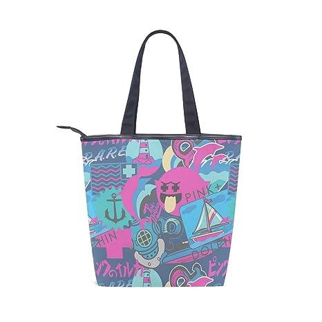 COOSUN Bolsa de lona con diseño de delfines rosas con cremallera para el hombro, bolso de mano, bolso para la compra, la escuela, al aire libre, ...