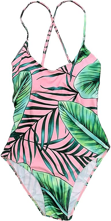 Toddler Baby Girl Leaf Print One-Piece Swimwear Mommy and Me Matching Swimsuit
