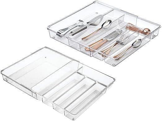 mDesign ampliable cajón de cocina bandeja de cajón para cubiertos ...