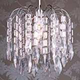 Loxton Lighting - Ceiling Chandelier - 3 Tier, Chrome, Diamond and Oblong Acrylic Drop
