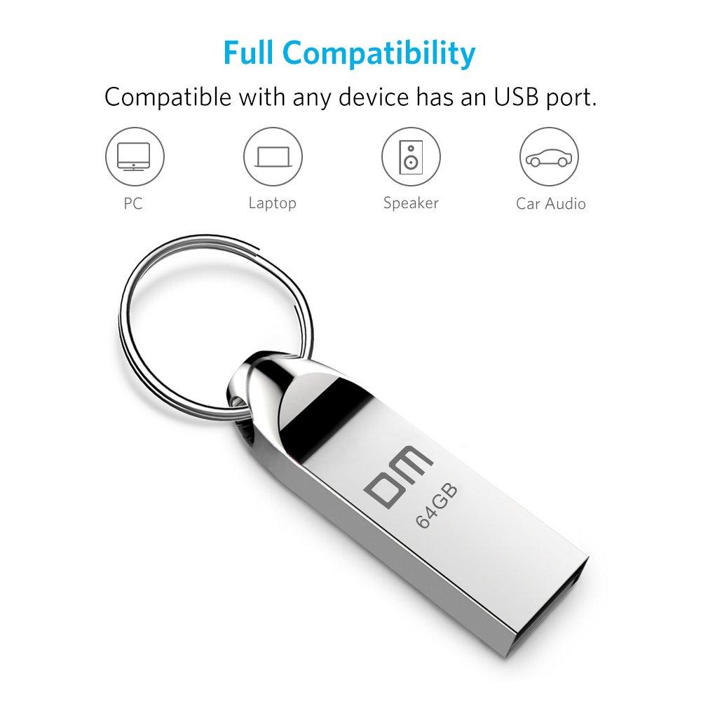 Clé USB 64 Go 64GB Pen Drive USB Clef Flash Drive Aluminium Annneau Porte-Clés Waterproof Stick Etanche pour PC Laptop Ordinateur Tablette et Les Autres USB Appareils Argent