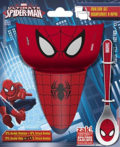 Zak Designs Marvel Comics Kids Cereal Bowl, Tumbler and Spoon Set, Spider-Man