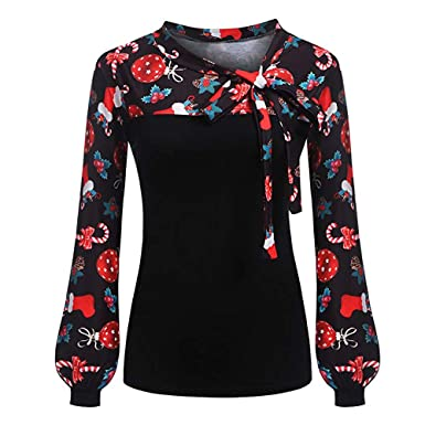 bad2f93d Clearance Womens Christmas Tops Toamen Long Sleeve Tie-Bow Neck Xmas Print  Splicing T Shirt Blouse: Amazon.co.uk: Clothing