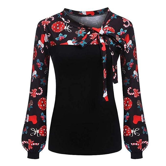 Christmas Tops.Clearance Womens Christmas Tops Toamen Long Sleeve Tie Bow Neck Xmas Print Splicing T Shirt Blouse