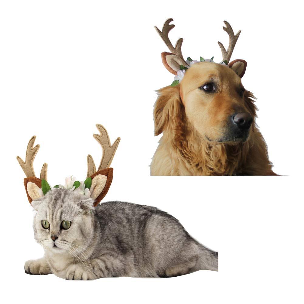 Morbuy Reizende Katzenkostüm Hunde Haustier Stirnband Kleidung, Weihnachtsren Stirnband Haustier Kostüme Katze lustiges Hunde Katze Halloween Karneval Cosplay
