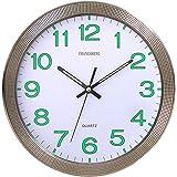 CursOnline Reloj de Pared de Cuarzo silencioso con manecillas y números Fluorescentes D. 31 cm