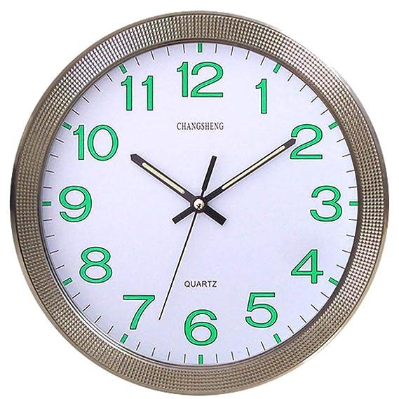 CursOnline Reloj de Pared de Cuarzo silencioso con manecillas y números Fluorescentes D. 31 cm, Cocina, salón y Oficina, cód.667: Amazon.es: Relojes