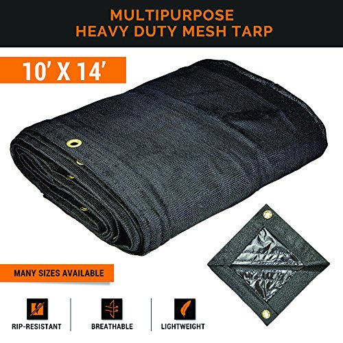 Xpose Safety Heavy Duty Mesh Tarp – 10' x 14' Multipurpose Black Protective Cover with Air Flow - Use for Tie Downs, Shade, Fences, Canopies, Dump Trucks – Waterproof, Weather and Tear Resistant by Xpose Safety